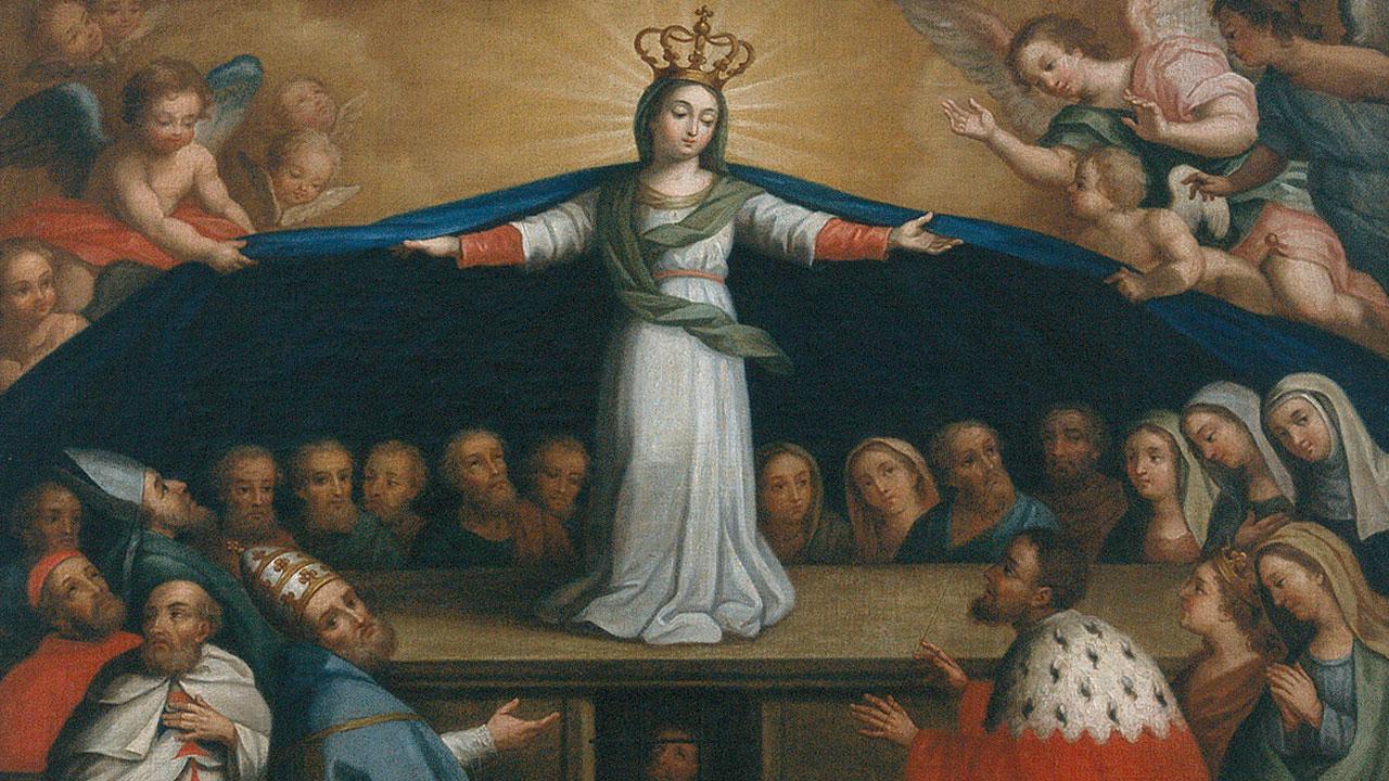 bandeira com motivos sagrados representando a rainha dona leonor