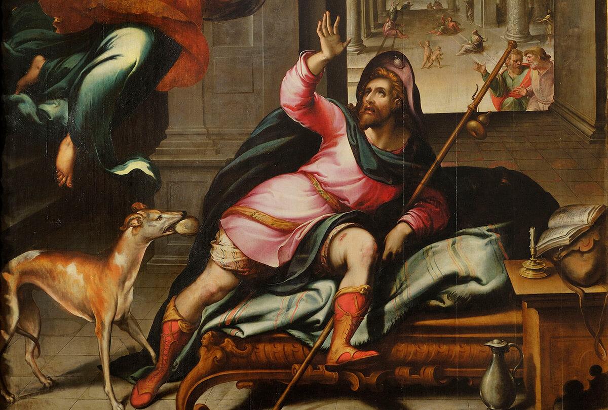 Pintura A aparição do anjo a São Roque, de Gaspar Dias (pormenor)